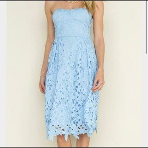 Francescas Harpeth Blue Strapless Dress